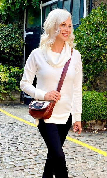 Supersoft Cowl Neck Zip Detail Top - Ivory