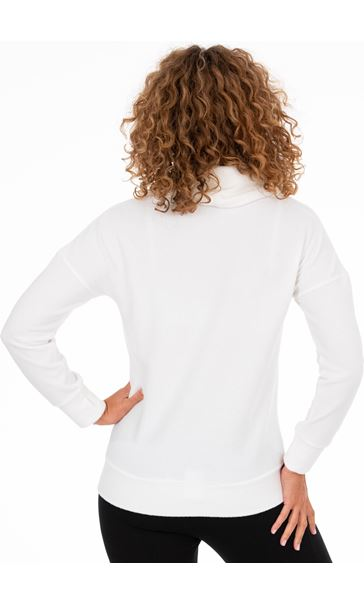 Cowl Neck Sports Top Ivory - Gallery Image 3