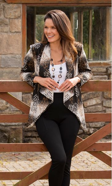 Printed Draped Knit Cardigan
