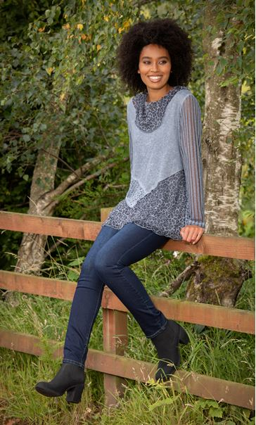 Asymmetric Multi Pattern Tunic Blue