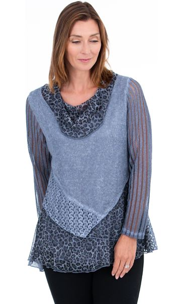 Asymmetric Multi Pattern Tunic Blue - Gallery Image 2