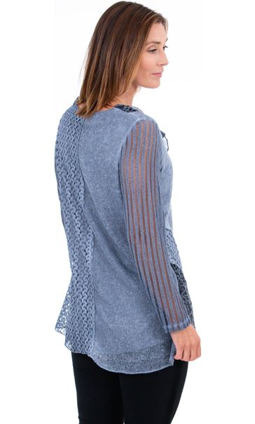 Asymmetric Multi Pattern Tunic Blue - Gallery Image 3