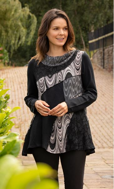 Cowl Neck Layered Tunic Black