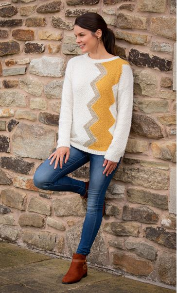 Zig-Zag Patterned Knitted Top Cream/Ochre - Gallery Image 1