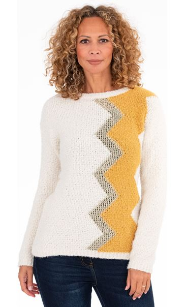 Zig-Zag Patterned Knitted Top Cream/Ochre - Gallery Image 2