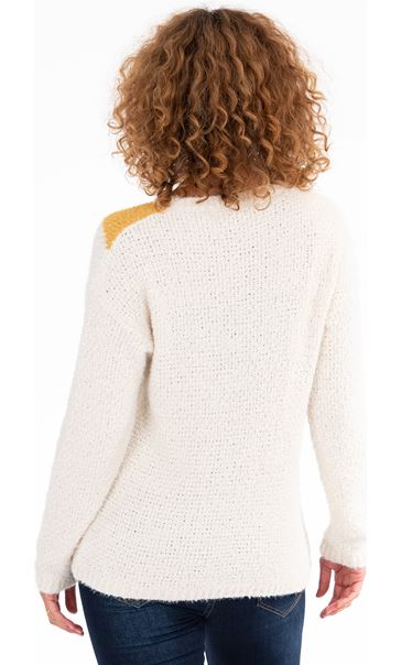 Zig-Zag Patterned Knitted Top Cream/Ochre - Gallery Image 3