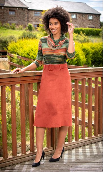 Suedette Midi Skirt With Belt Rust