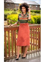 Suedette Midi Skirt With Belt