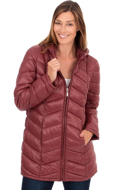 Zip Up Quilted Pack Away Coat - Berry