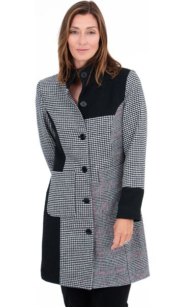 Patch Work Checked Coat Black/White - Gallery Image 2