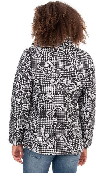 Baroque Print Quilted Jacket Blue/Grey - Gallery Image 3
