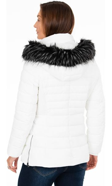 Longline Padded Coat With Hood Ivory - Gallery Image 3