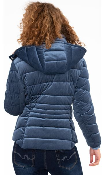 Cord Padded Coat Blue - Gallery Image 3