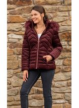 Cord Padded Coat With Hood