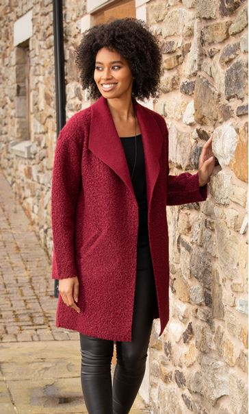 Textured Longline Jacket - Ruby
