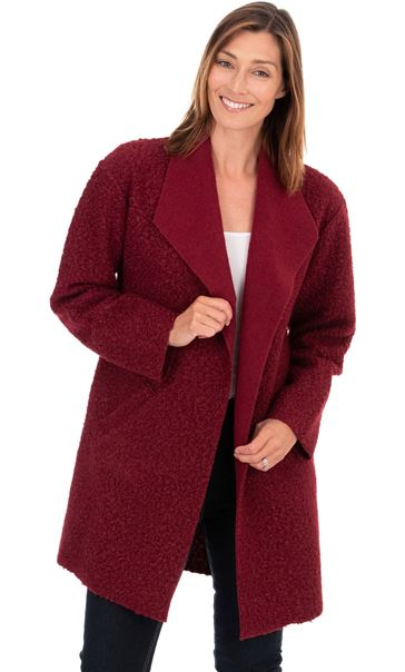 Textured Longline Jacket Ruby - Gallery Image 2