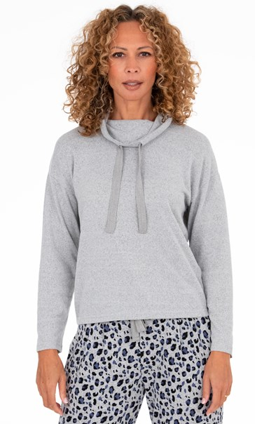 Funnel Neck Lounge Top Lt Grey Marl - Gallery Image 2