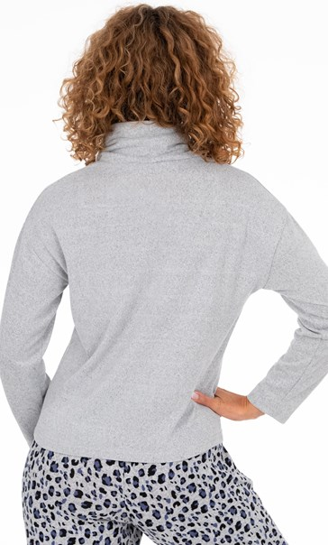 Funnel Neck Lounge Top Lt Grey Marl - Gallery Image 3