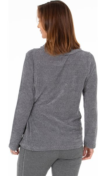 Knitted Side Tie Top Blue/Black - Gallery Image 3