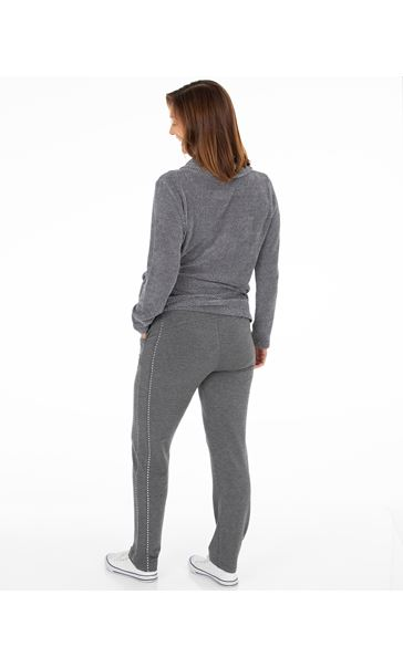 Studded Jersey Pull On Trousers Charcoal Marl - Gallery Image 3