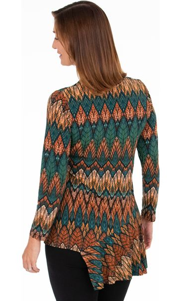 Dip Hem Long Sleeve Printed Top