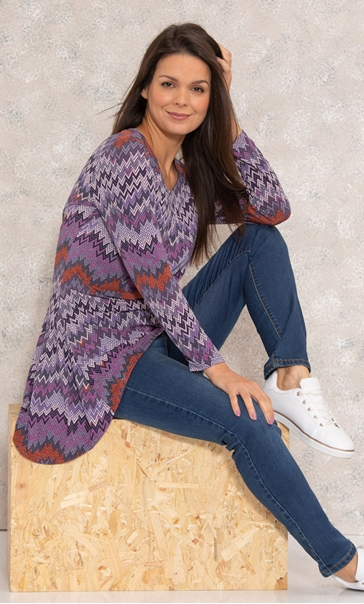 Hanky Hem Long Sleeve Printed Jersey Top Purple/Orange