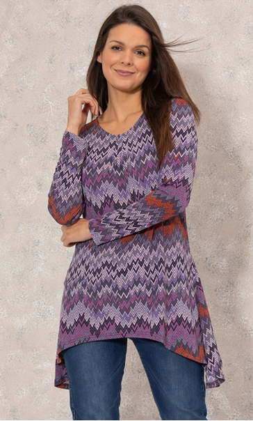 Hanky Hem Long Sleeve Printed Jersey Top