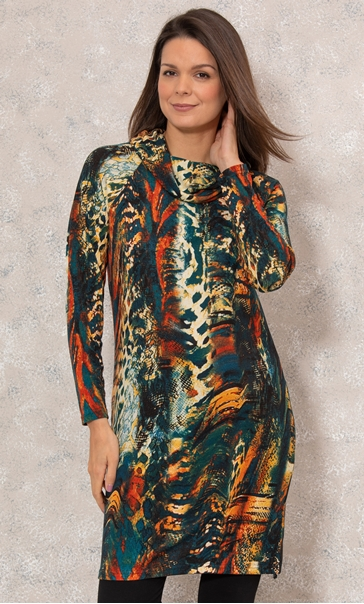 Long Sleeve Cowl Neck Knitted Dress Teal/Orange - Gallery Image 2