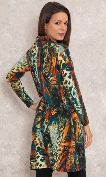 Long Sleeve Cowl Neck Knitted Dress Teal/Orange - Gallery Image 3