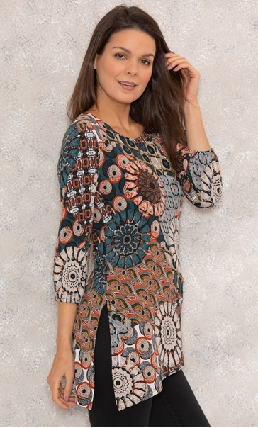 Asymmetric Hem Long Sleeve Print Tunic