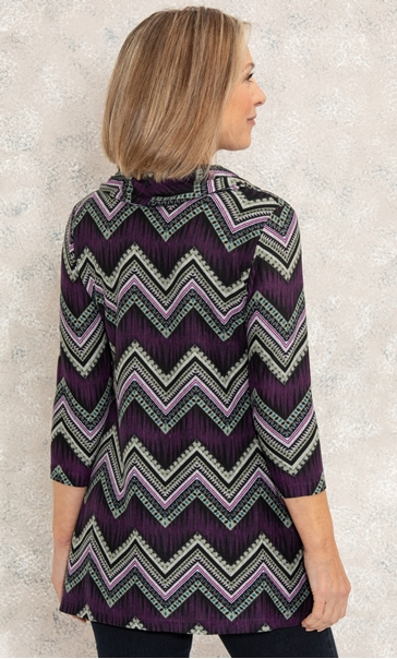 Anna Rose Wrap Front Printed Top Purple Multi - Gallery Image 3