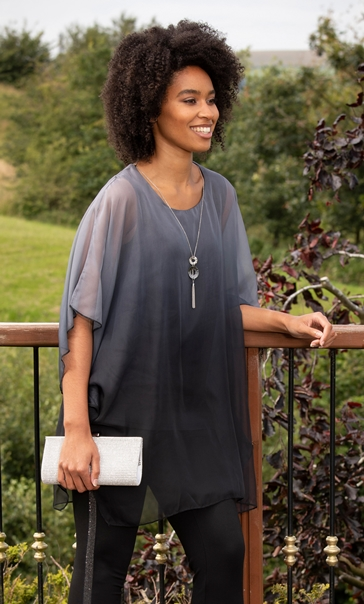 Chiffon Overlay Blouse Black/Grey