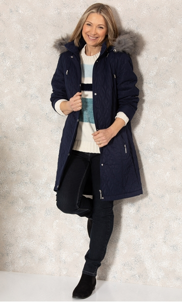 Anna Rose Longline Quilted Parka Coat Midnight