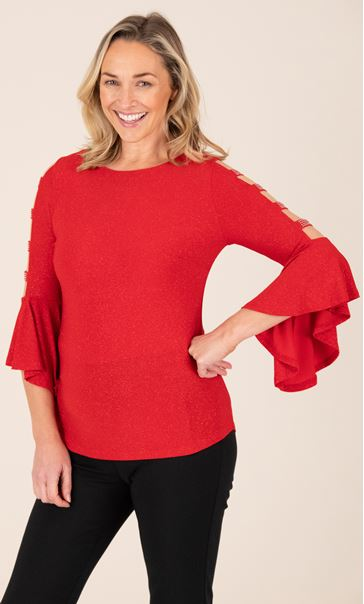 Embellished Bell Ladder Sleeve Top Red