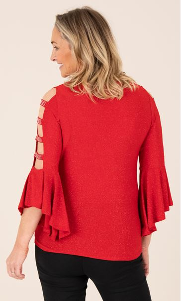 Embellished Bell Ladder Sleeve Top Red - Gallery Image 2