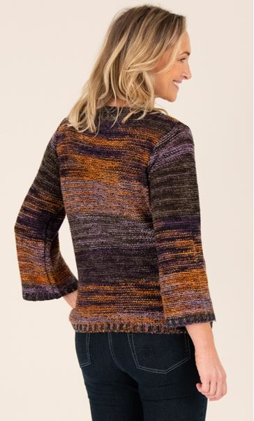 Knitted Three Quarter Length Sleeve Top - Purple/Orange