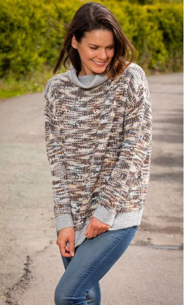 High Neck Textured Knitted Jumper Beige/Grey - Gallery Image 1