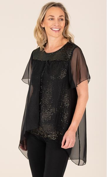Chiffon Layered Sparkle Top Black/Gold