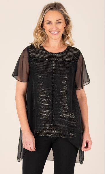 Chiffon Layered Sparkle Top Black/Gold - Gallery Image 2