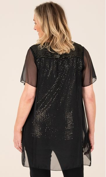 Chiffon Layered Sparkle Top Black/Gold - Gallery Image 3