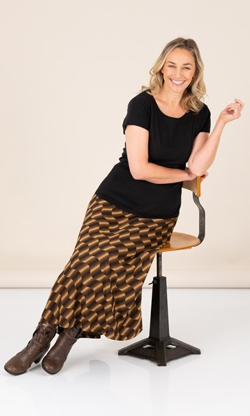 Fit And Flare Patterned Maxi Skirt Browns - Gallery Image 1
