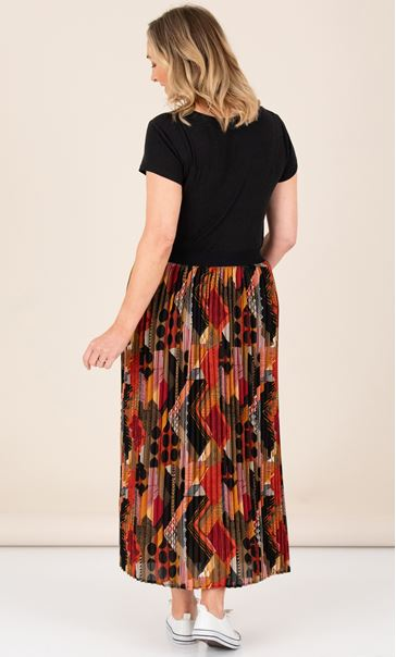 Georgette Print Pleated Maxi Skirt