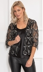 Sequin Fringed Open Mesh Cover Up Black/Silver - Gallery Image 1