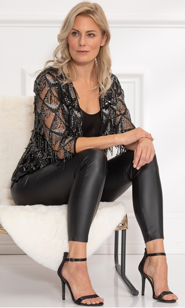 Sequin Fringe Cover Up - Black/Silver