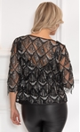 Sequin Fringed Open Mesh Cover Up Black/Silver - Gallery Image 3
