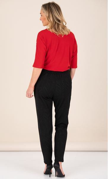 Leaf Sparkle Tapered Leg Trousers Black - Gallery Image 2