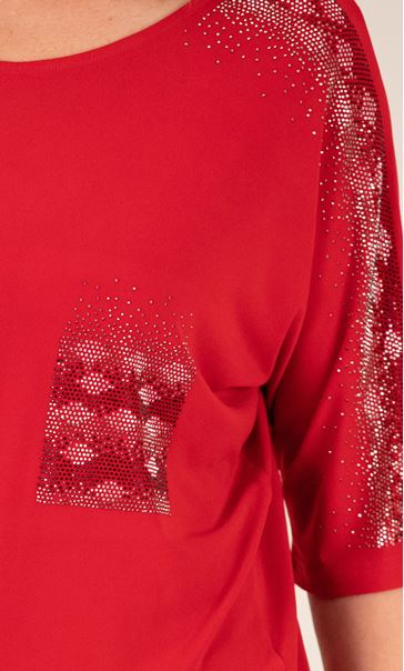 Embellished Relaxed Fitting Stretch Top Red - Gallery Image 3