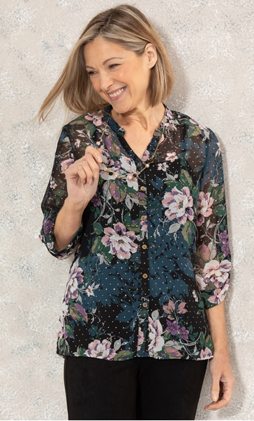 Anna Rose Printed Chiffon Blouse With Necklace Hessian