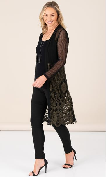 Long Line Lace Hem Cover Up - Black