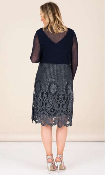 Long Line Lace Hem Cover Up - Midnight/Silver